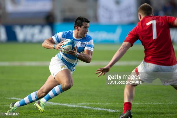 Santiago Gonzalez Iglesias from Argentina runs with the ball during the International Test Match between Argentina and Wales at the San Juan del...