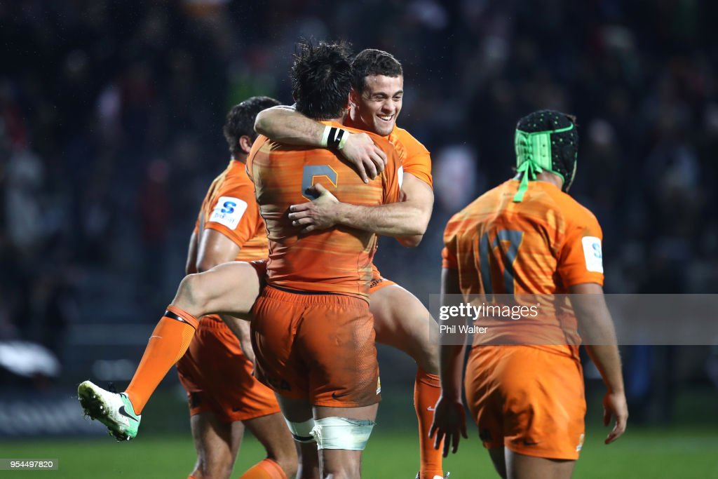 Santiago Gonzalez Iglesias of the Jaguares celebrates on full time during the round 12 Super Rugby match between the Chiefs and the Jaguares at Rotorua International Stadium on May 4, 2018 in Rotorua, New Zealand.