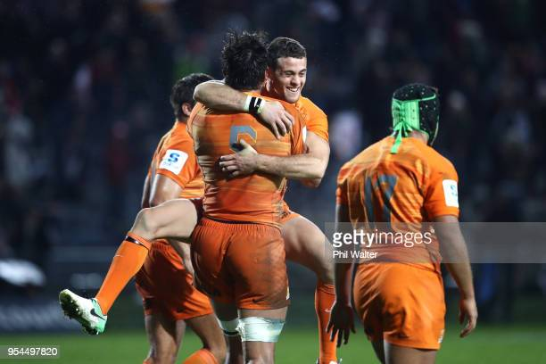 Santiago Gonzalez Iglesias of the Jaguares celebrates on full time during the round 12 Super Rugby match between the Chiefs and the Jaguares at...