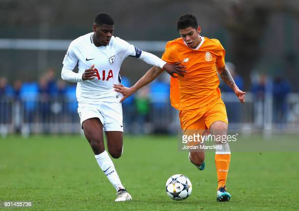 Santiago Javier Irala Vera of FC Porto and Thimothy Eyoma of Tottenham Hotspur in action during the UEFA Youth League group H match between Tottenham...