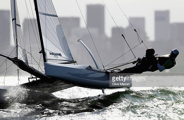 Santiago Lange and Maria Tejerina Mackern of Argentina in action on their Nacra 17 class boat during practice ahead of the Rio 2016 Olympic Games at...