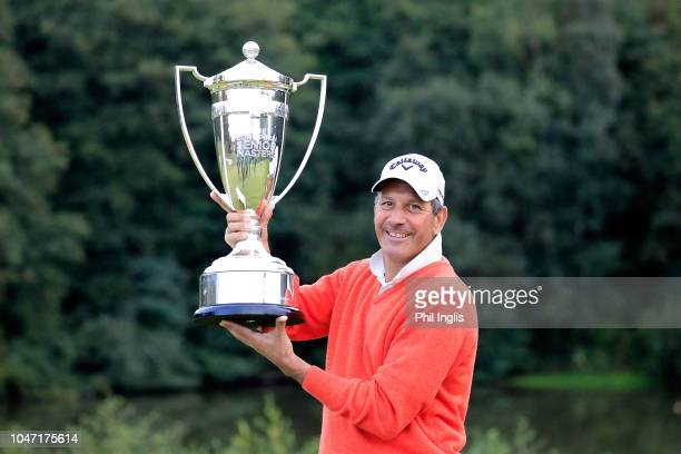 Santiago Luna of Spain poses with the trophy after Day Three of the Farmfoods European Senior Masters at Forest Of Arden Marriott Hotel Country Club...