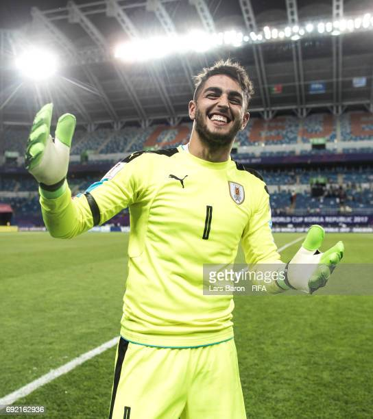 Santiago Mele of Uruguay celebrates after winning the FIFA U20 World Cup Korea Republic 2017 Quarter Final match between Portugal and Uruguay at...