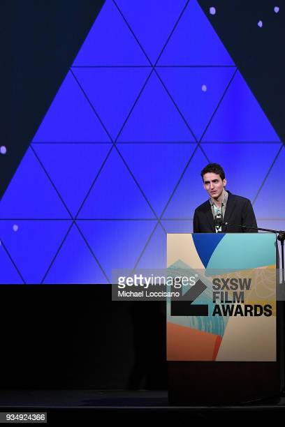Santiago Menghini accepts the SXSW Midnight Shorts Award winner for 'Milk' at the SXSW Film Awards show during the 2018 SXSW Conference and Festivals...