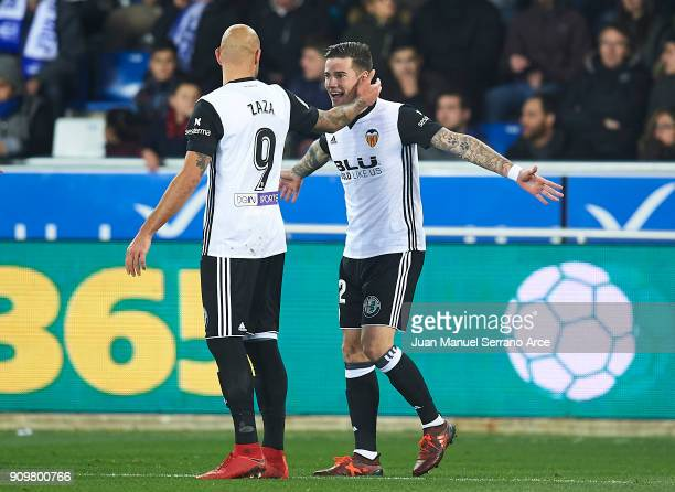 Santiago Mina of Valencia CF celebrates after scoring his team's first goal with Simone Zaza of Valencia CF during the Copa del Rey Quarter Final...