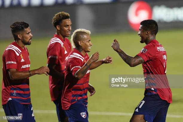 Santiago Mosquera of FC Dallas celebrates with his team mates after score his 1st goal during the MLS game between FC Dallas and Colorado Rapids at...