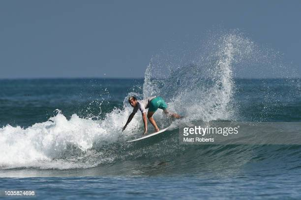 Santiago Muniz of Argentina competes in the Men's Final during the ISA World Surfing Games at the Pacific Long Beach on September 19 2018 in Tahara...