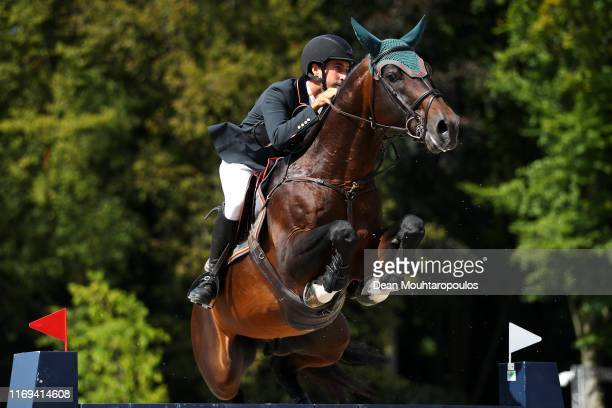 Santiago Nunez Riva of Spain riding Valentino de Hus Z competes during Day 3 of the Longines FEI Jumping European Championship speed competition...