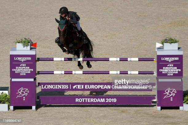 Santiago Nunez Riva of Spain riding Valentino de Hus Z competes during Day 4 of the Longines FEI Jumping European Championship 2nd part, team Jumping...