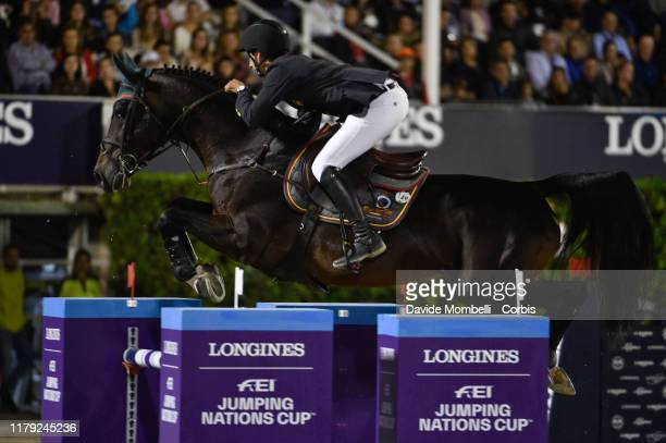 Santiago Nunez Riva riding Valentino de Hus Z of Spain during Longines FEI Jumping Nations Cup Final u2013 Challenge Cup on October 5 2019 in...