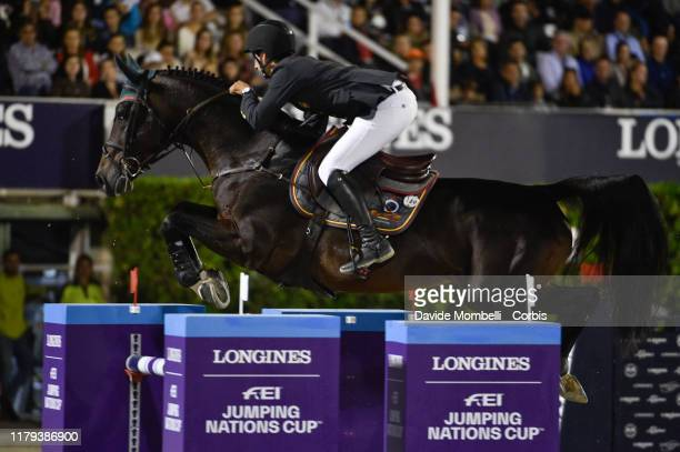 Santiago Nunez Riva riding Valentino de Hus Z of Spain during Longines FEI Jumping Nations Cup Final Challenge Cup on October 5 2019 in Barcelona...