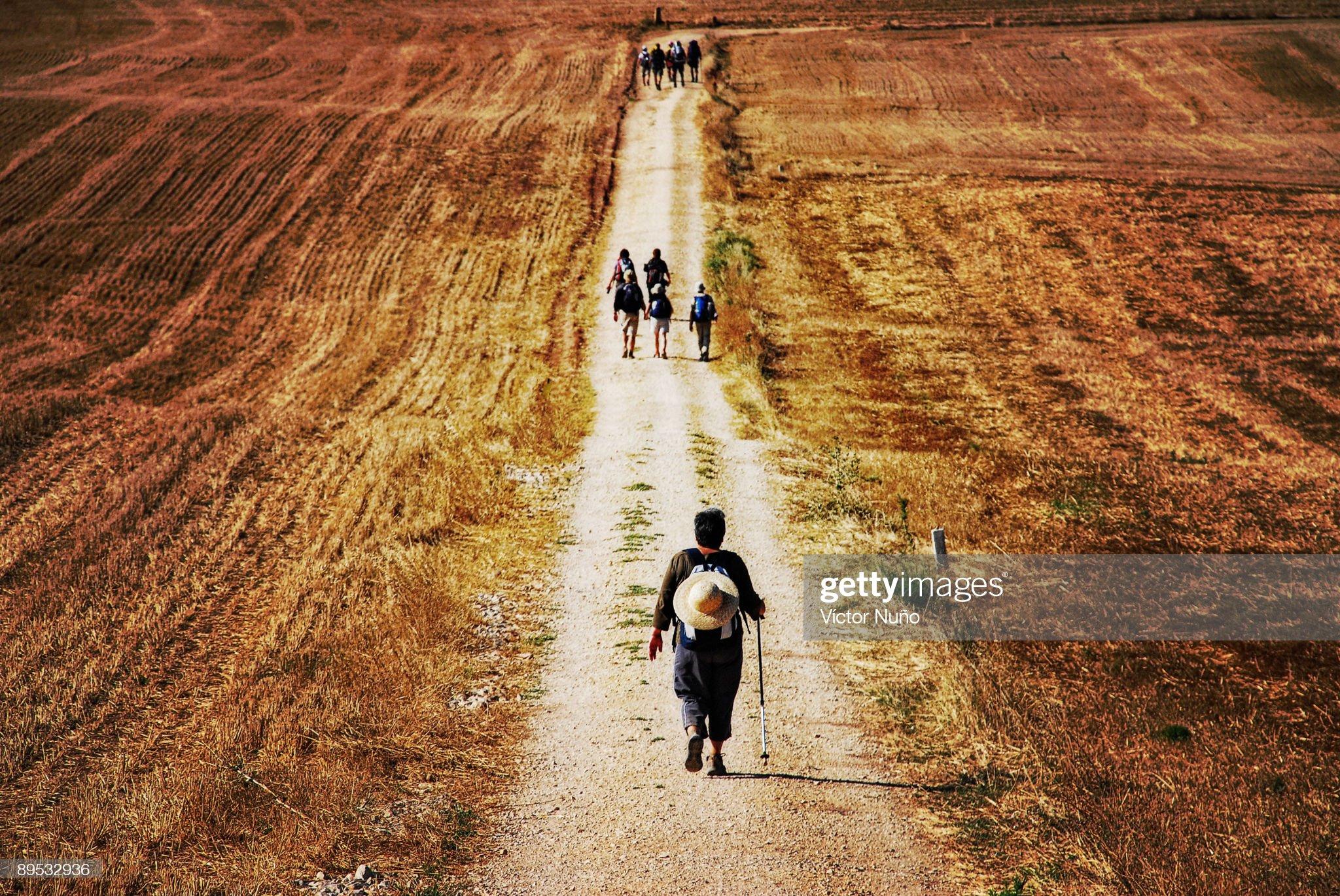 Santiago pilgrims walking on path : Foto de stock