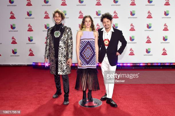 Santiago Prieto Sarabia Catalina Garcia and Nicolas Junca of Monsieur Perine attend the 19th annual Latin GRAMMY Awards at MGM Grand Garden Arena on...