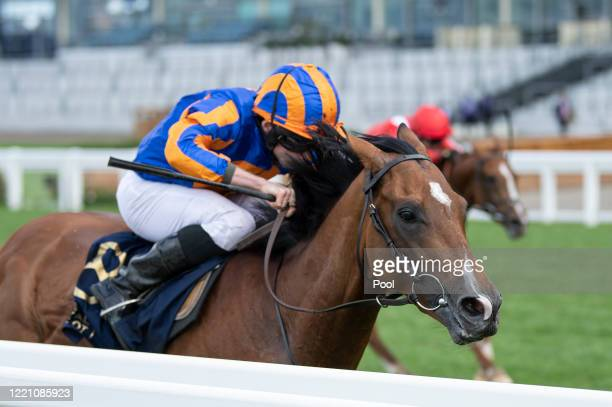Santiago ridden by Ryan Moore wins the Queens Vase during Day Four of Royal Ascot at Ascot Racecourse on June 19, 2020 in Ascot, England.
