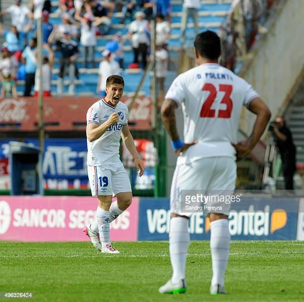 Santiago Romero of Nacional celebrates after scoring the opening goal during a match between Nacional and Peñarol as part of round 12 of Apertura...