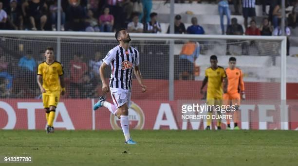 Santiago Salcedo of Paraguay's Libertad celebrates after scoring against Uruguay's Penarol during their 2018 Libertadores Cup football match at the...