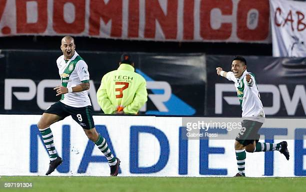 Santiago Silva of Banfield celebrates after scoring the first goal of his team during a match between River Plate and Banfield as part of first round...