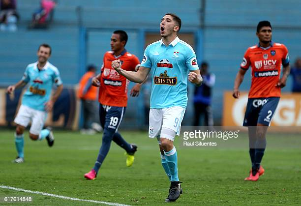 Santiago Silva of Sporting Cristal celebrates after scoring the seventh goal of his team during a match between Sporting Cristal and Cesar Vallejo as...