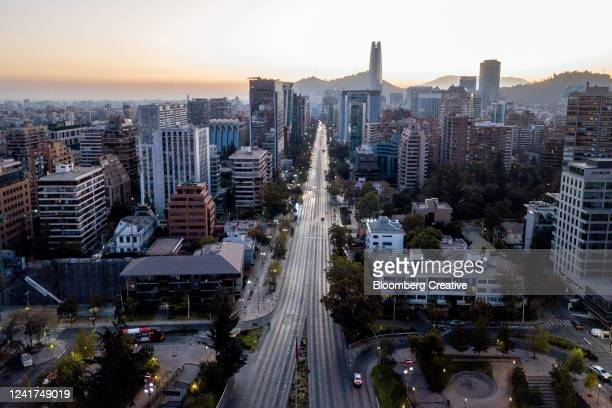santiago skyline - santiago chile stock pictures, royalty-free photos & images
