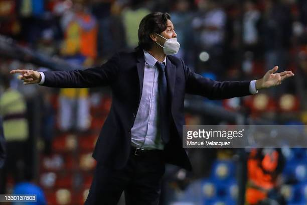 Santiago Solari, coach of America gives instructions during the 1st round match between Queretaro and America as part of the Torneo Grita México A21...