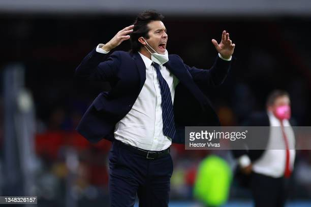 Santiago Solari, head coach of America gestures during the 15th round match between America and Tigres UANL as part of the Torneo Grita Mexico A21...