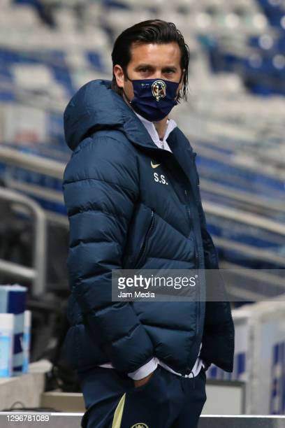 Santiago Solari, head coach of America, looks on during the 2nd round match between Monterrey and America as part of the Torneo Guard1anes 2021 Liga...