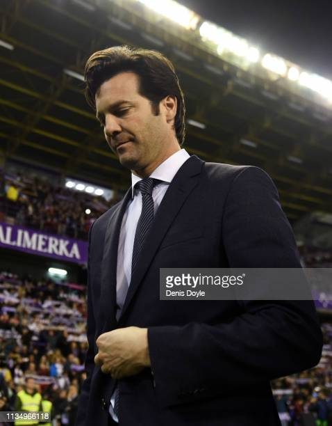 Santiago Solari, Manager of Real Madrid looks thoughtful during the La Liga match between Real Valladolid CF and Real Madrid CF at Jose Zorrilla on...