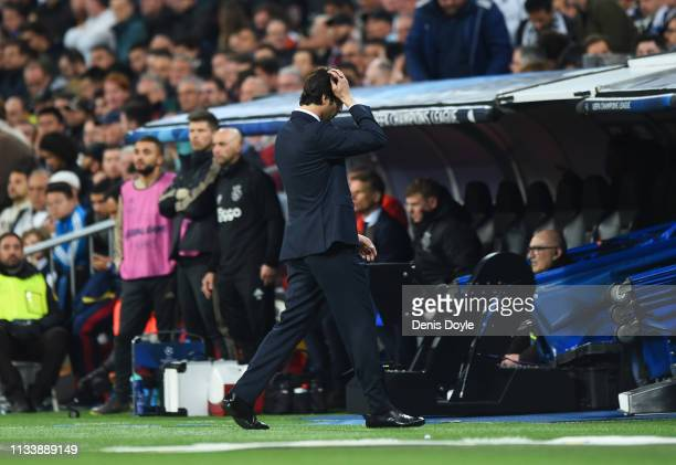 Santiago Solari Manager of Real Madrid reacts during the UEFA Champions League Round of 16 Second Leg match between Real Madrid and Ajax at Bernabeu...