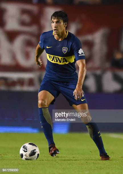 Santiago Vergini of Boca Juniors drives the ball during a match between Independiente and Boca Juniors as part of Superliga 2017/18 on April 15 2018...