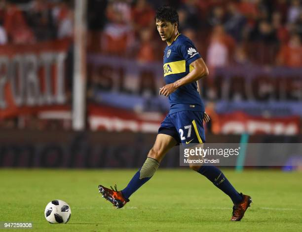 Santiago Vergini of Boca Juniors kicks the ball during a match between Independiente and Boca Juniors as part of Superliga 2017/18 on April 15 2018...