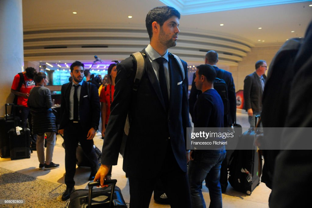 Santiago Yusta, #16 of Real Madrid during the Real Madrid arrival to participate of 2018 Turkish Airlines EuroLeague F4 at Hyatt Regency Hotel on May 16, 2018 in Belgrade, Serbia.