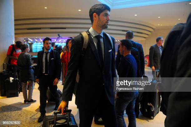 Santiago Yusta #16 of Real Madrid during the Real Madrid arrival to participate of 2018 Turkish Airlines EuroLeague F4 at Hyatt Regency Hotel on May...