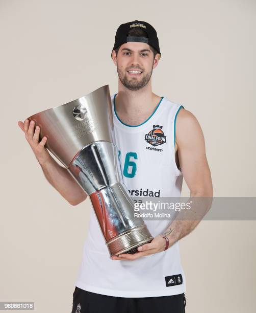 Santiago Yusta #16 of Real Madrid poses during the 2018 Turkish Airlines EuroLeague F4 Champion Photo Session with Trophy at Stark Arena on May 20...