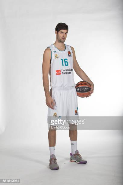 Santiago Yusta #16 poses during Real Madrid 2017/2018 Turkish Airlines EuroLeague Media Day at Wizink Arena on September 25 2017 in Madrid Spain