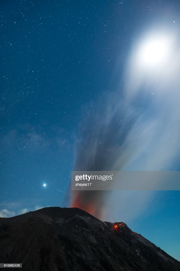 Santiaguito volcano eruption : Stock Photo