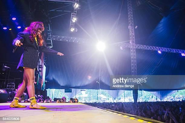 Santigold performs on the Arena stage during Roskilde Festival 2016 on June 30, 2016 in Roskilde, Denmark.