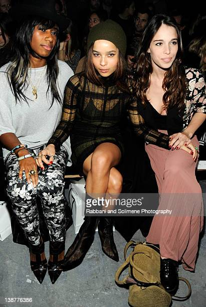 Santigold Zoe Kravitz and guest attend the Alexander Wang Fall 2012 fashion show during MercedesBenz Fashion Week at Pier 94 on February 11 2012 in...