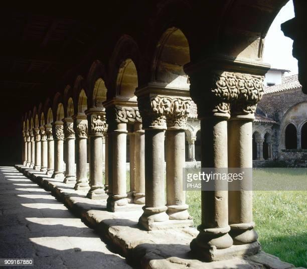 Santillana del Mar Cantabria Spain Collegiate of Santa Juliana Cloister gallery detail 12th13th centuries Romanesque style