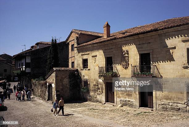 Santillana del Mar Cantabria Tourists for the streets of the medieval city declared Historicalartistic Monument for their patrimonial wealth