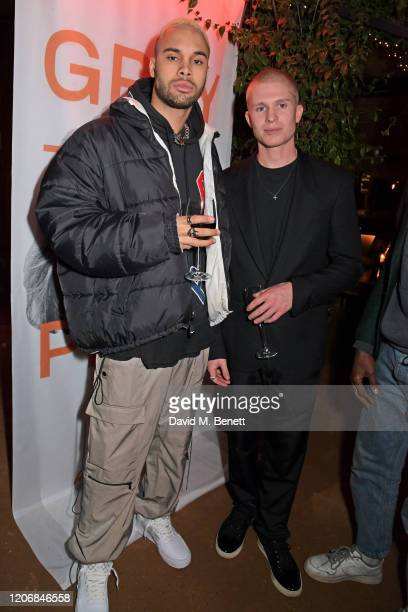 Santino Le Saint and whynow CoCreative Director Theo Ian Iago attend the launch of new positive media platform 'whynow' at Petersham Nurseries on...