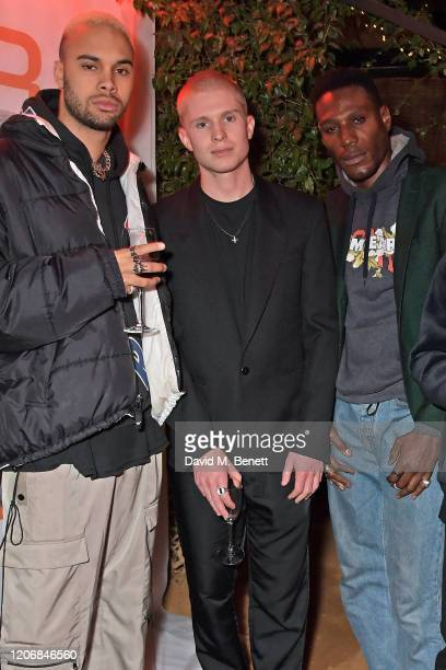 Santino Le Saint whynow CoCreative Director Theo Ian Iago and Tafari Hinds attend the launch of new positive media platform 'whynow' at Petersham...