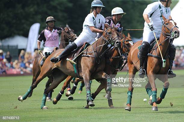 Santino Magrini White Birch and Matias Magrini KIG challenge during the White Birch Vs KIG Polo match in the Butler Handicap Tournament match at the...