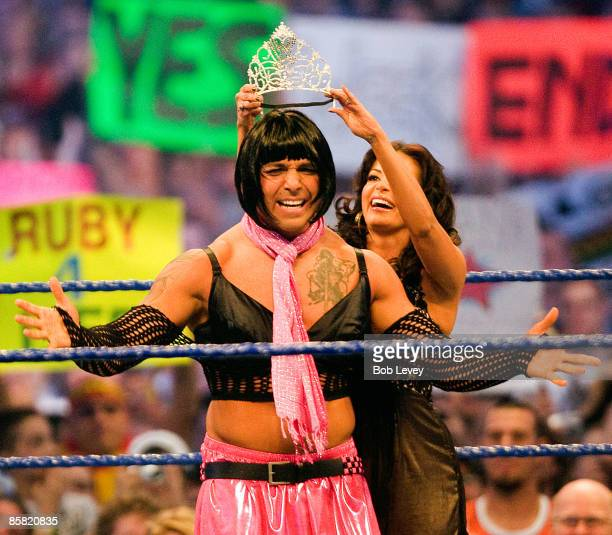 Santino Morrella dressed in drag is crowned Miss Wrestlemanin at 'WrestleMania 25' at the Reliant Stadium on April 5 2009 in Houston Texas