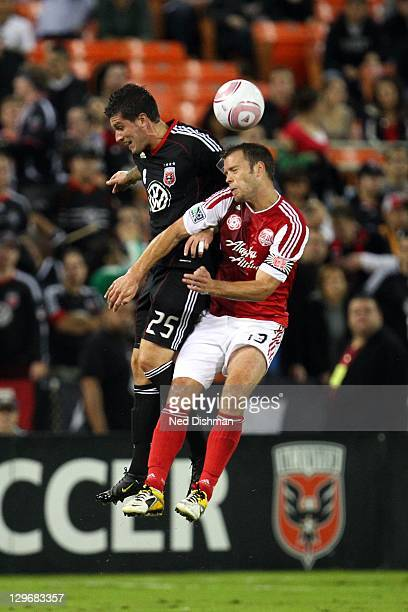 Santino Quaranta of DC United controls the ball against Jack Jewsbury of the Portland Timbers at RFK Stadium on October 19 2011 in Washington DC