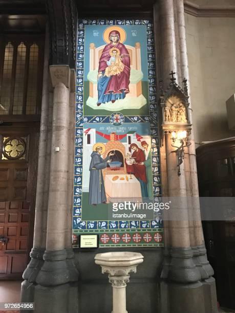 S.Antoine imagen de mosaico interior de iglesia católica en la ciudad de İstanbul