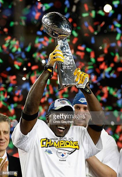 Santonio Holmes of of the Pittsburgh Steelers celebrates with the trophy after the Steelers won 2723 against the Arizona Cardinals during Super Bowl...