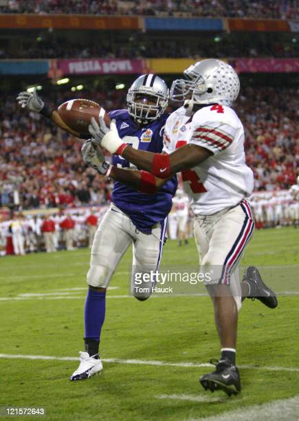 Santonio Holmes of Ohio State tries to make a catch past Randy Jordan of Kansas State during the third quarter Ohio State defeats Kansas State 3528...