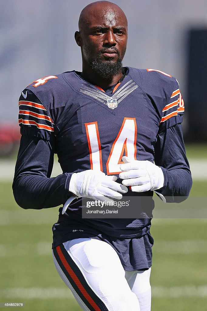 Santonio Holmes #14 of the Chicago Bears during pregame warmups before their game against the Buffalo Bills at Soldier Field on September 7, 2014 in Chicago, Illinois.