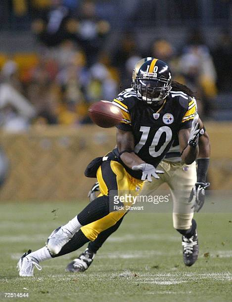 Santonio Holmes of the Pittsburgh Steelers makes a catch against the New Orleans Saints on November 12 2006 at Heinz Field in Pittsburgh Pennsylvania