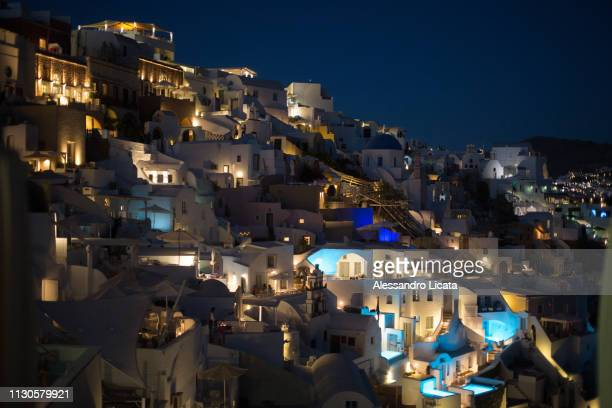 santorini at night - luogo d'interesse stock pictures, royalty-free photos & images